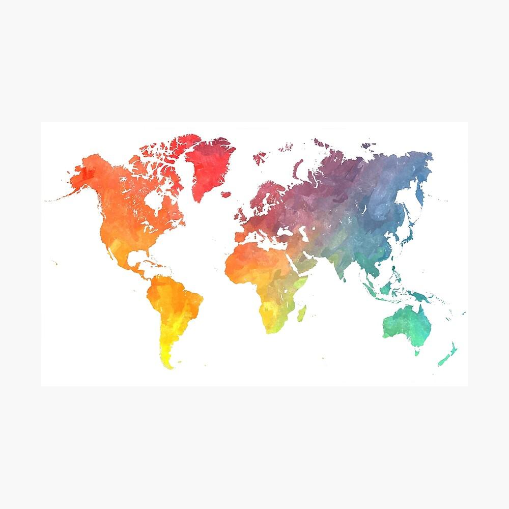 Karte der Welt gefärbt Fotodruck