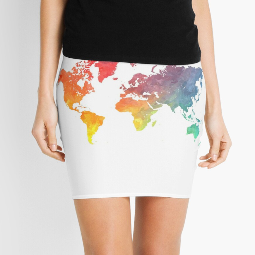 Map of the world colored Mini Skirt