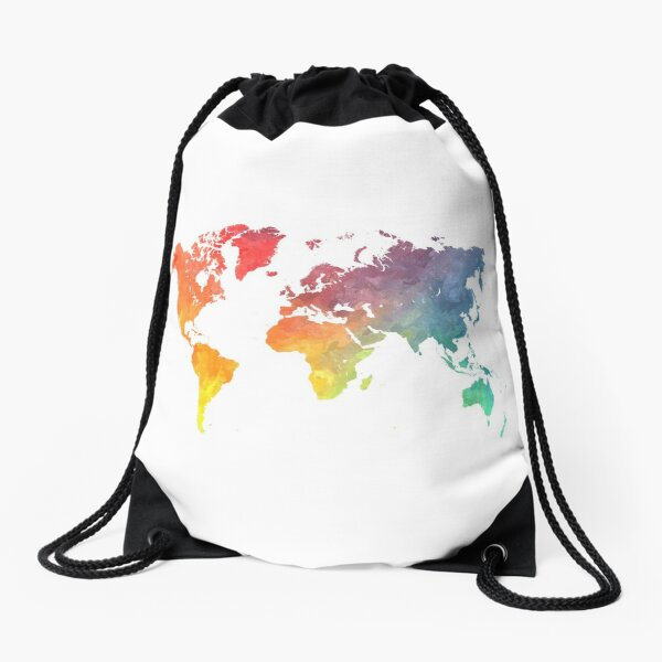 Map of the world colored Drawstring Bag