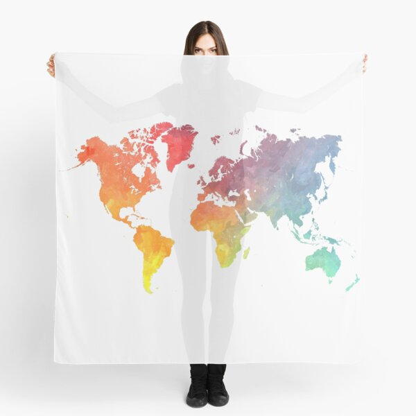 Map of the world colored Scarf