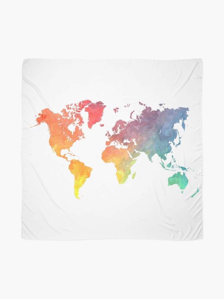 Alternate view of Map of the world colored Scarf
