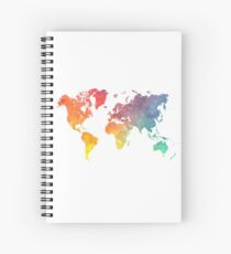 Map of the world colored Spiral Notebook