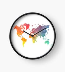Reloj Mapa del mundo coloreado