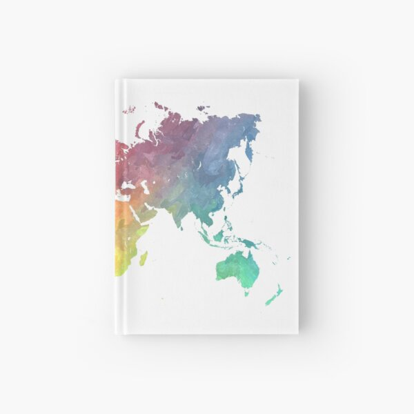 Map of the world colored Hardcover Journal