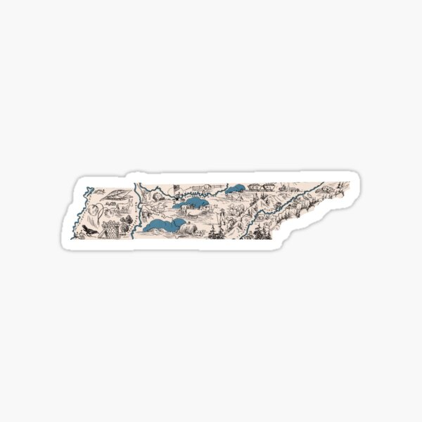 Tennessee Vintage Picture Map Sticker