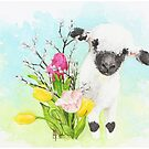 Goofy sheep with Tulips by imagesower