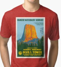 Travel Poster - Devil's Tower, the First National Monument Tri-blend T-Shirt