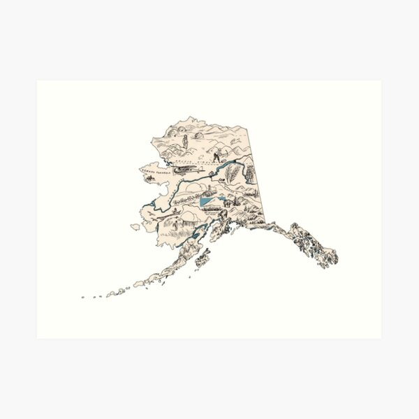 Alaska Vintage Picture Map Art Print