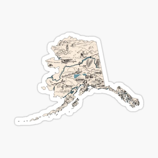 Alaska Vintage Picture Map Sticker
