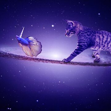 Dreamscape Kitten Space Walk Sombrero Galaxy Chasing Unicorn Beta Fish Space Art by midnightdreamer