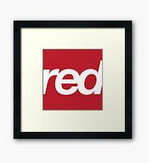 red bold helvetica design Framed Print