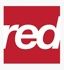 red bold helvetica design Photographic Print