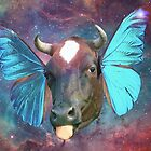 Super Unique Space Cow Tongue  Emoji Butterfly Ears Nebula Graphic Art Design by midnightdreamer