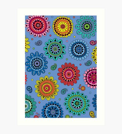 Flowers of Desire blue Art Print