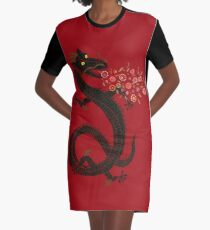 Dragon, Flower Breathing Graphic T-Shirt Dress