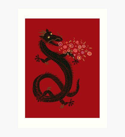Dragon, Flower Breathing Art Print