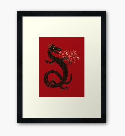 Dragon, Flower Breathing Framed Print