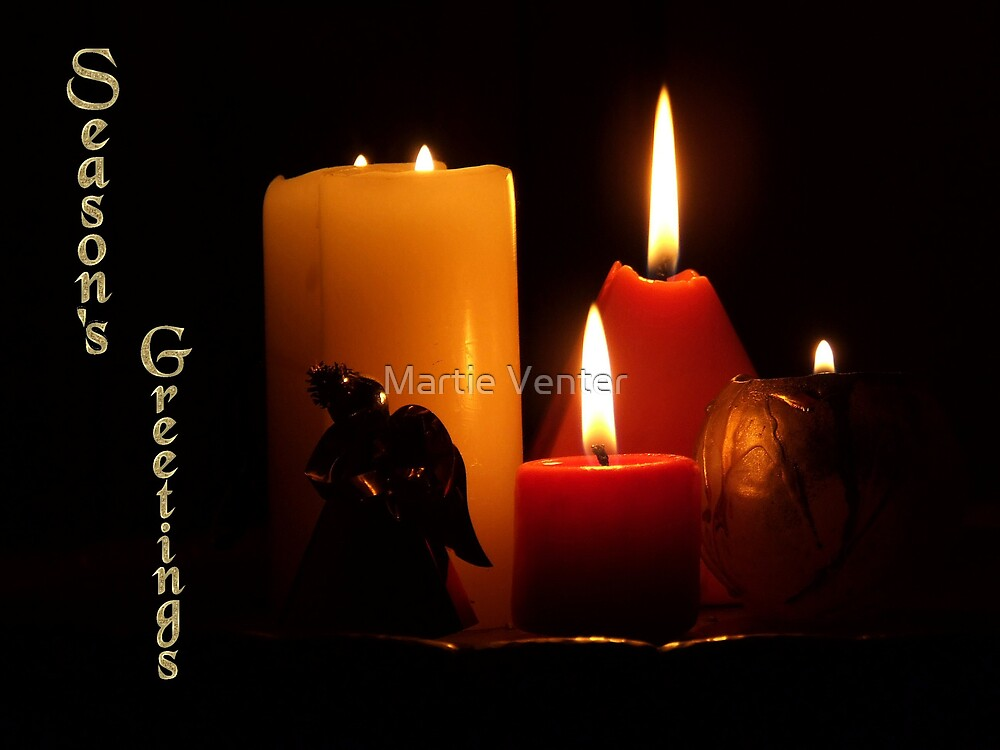 Season's Greetings: Candles with Angel by Martie Venter