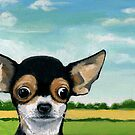 What's Going On? - Chihuahua dog portrait oil painting by LindaAppleArt