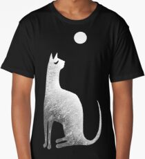 Ghost Cat and Moon in black and white Long T-Shirt