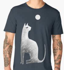 Ghost Cat and Moon in black and white Men's Premium T-Shirt