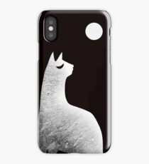 Ghost Cat and Moon in black and white iPhone Case/Skin