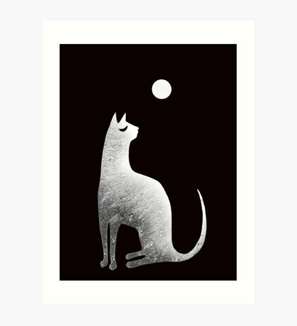 Ghost Cat and Moon in black and white Art Print