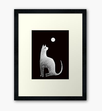Ghost Cat and Moon in black and white Framed Print