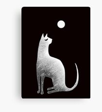 Ghost Cat and Moon in black and white Canvas Print