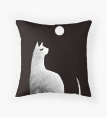 Ghost Cat and Moon in black and white Throw Pillow