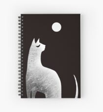 Ghost Cat and Moon in black and white Spiral Notebook