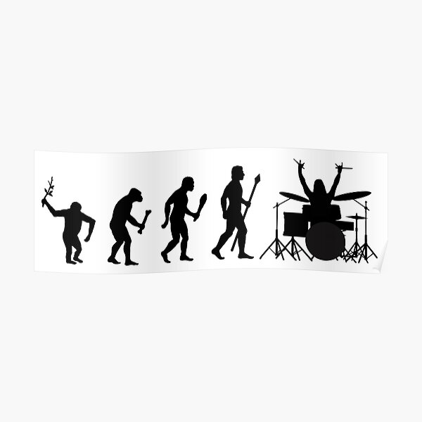 Evolution Of Man And Drums Poster