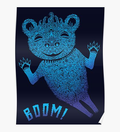 Blue Berlin Bear Goes Boom Poster