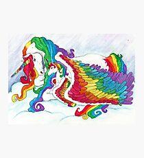 Fantasy Art ' Early Morning Rainbows ' Unicorn Mother & Foal Fine Art  Photographic Print
