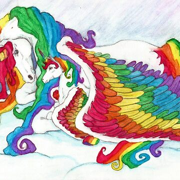 Fantasy Art ' Early Morning Rainbows ' Unicorn Mother & Foal Fine Art  by midnightdreamer