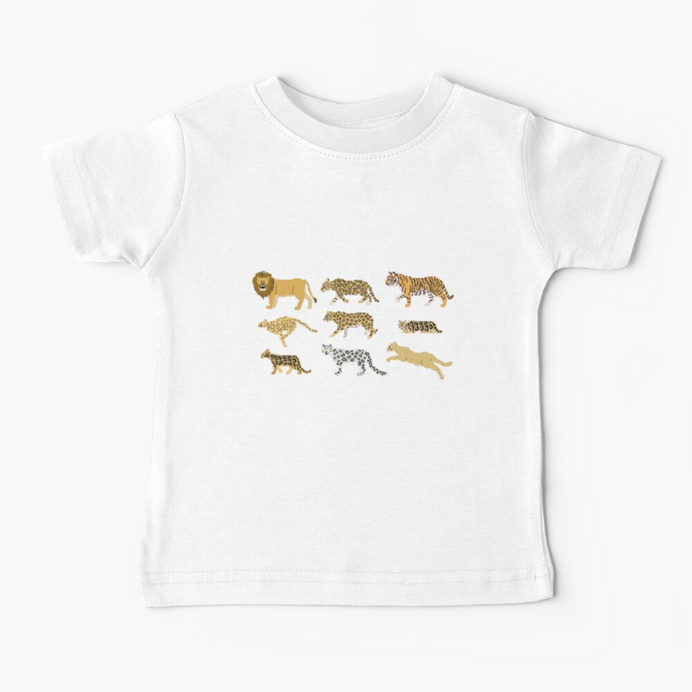 Big Cats - The Kids' Picture Show - Pixel Art Baby T-Shirt
