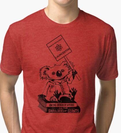 March for Science Launceston – Koala, black Tri-blend T-Shirt