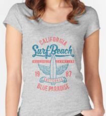 California Surf Beach Blue Paradise Women's Fitted Scoop T-Shirt
