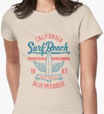 California Surf Beach Blue Paradise Womens Fitted T-Shirt