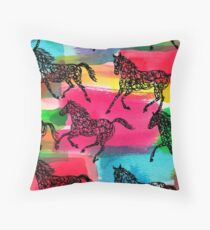Horse Stampede Throw Pillow