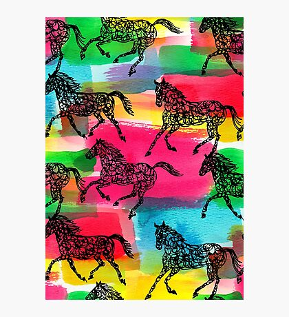 Horse Stampede Photographic Print