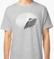 The Hidden Magpie Print Oriental Zen Minimalism - Sumie black ink bird feathers Classic T-Shirt