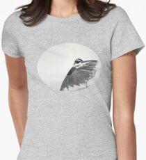 The Hidden Magpie Print Oriental Zen Minimalism - Sumie black ink bird feathers Womens Fitted T-Shirt