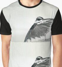 The Hidden Magpie Print Oriental Zen Minimalism - Sumie black ink bird feathers Graphic T-Shirt