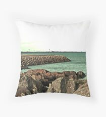 Clogherhead Harbour Wall Throw Pillow