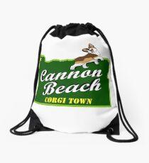 Cannon Beach - Corgi Town Drawstring Bag