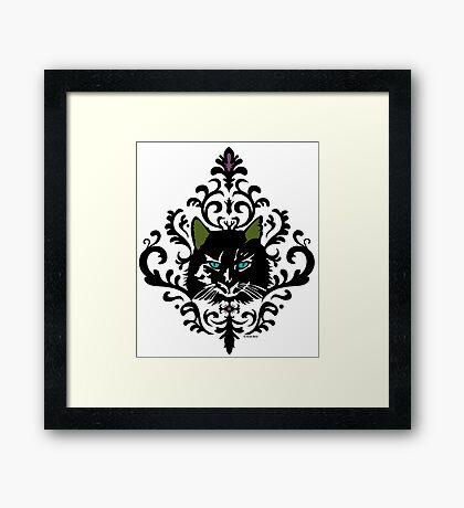 cat nap damask Framed Print