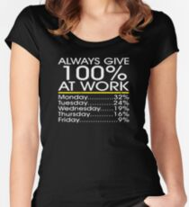 Always Give 100% at Work Women's Fitted Scoop T-Shirt