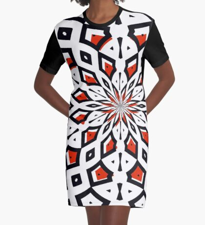 Beautiful Artistic Flower Exploding Red And Black Graphic T-Shirt Dress