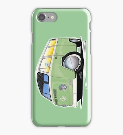 VW Bay Window Camper Van Light Green iPhone Case/Skin